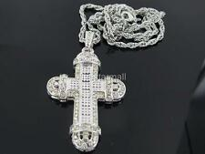 """CROSS SILVER TONE CZ PENDANT 36"""" ROPE CHAIN HIPHOP BLING RARE"""
