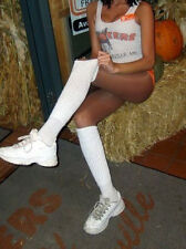 Slouch Knee Scrunchie Boot Socks Sexy Long White Thin Foot Hooters uniform