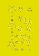 Planche de stickers ETOILES - Adhésif adhesives autocollant étoiles jaune fluo