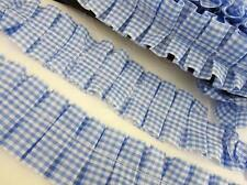 "6 yards Pleated Gingham Check Ruffled Trim 1.5"" Trimming/sewing/Light T117-Blue"