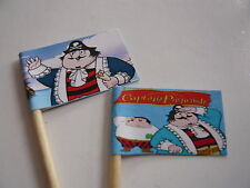 20 RETRO CUPCAKE FLAGS/TOPPERS - CAPTAIN PUGWASH CHILDRENS BIRTHDAY PARTY