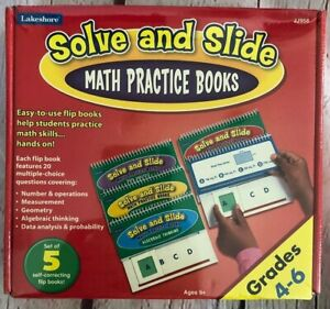 Lakeshore Math Practice Solve & Slide Middle Homeschool 5 Flip Books Grades 4-6
