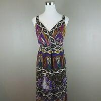 LANE BRYANT Women's Brown Purple Sleeveless Bohemian Long Maxi Dress Size 18