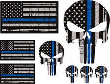 Punisher Skull American Flag Police Blue Line Kit Decal Sticker Graphic USA JDM