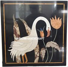 2' Black Marble Coffee Table Top Bird Floral Mosaic Inlay Furniture Decors M063