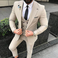 Beige Men Suits Slim Fit Wedding Business 3 Pcs Coat Vest Pants Set Tailored