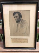 """GUTZON BORGLUM """"LONELY LINCOLN"""" SKETCH SIGNED MARIE MATTINGLY MELONEY AUTOGRAPH"""