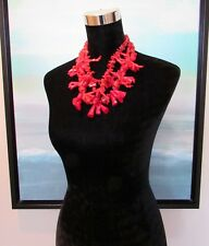 Red Faux Coral Three Strand Chunky Statement Necklace 12""