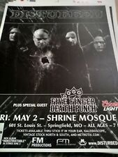 Disturbed w/ Five Finger Death Punch * Rare Concert Flyer Mini Poster * 5/2/2009