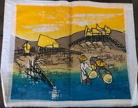 Vintage Japanese Painting On Linen People Working In Rice Field Colorful Signed