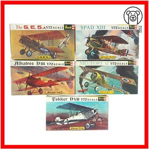 Revell Vintage 5x Model Airplane Kit Bundle Lot World War I Aircraft 1:72 Scale