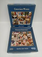 Gibsons 2 x 1000 Jigsaw Puzzles Vintage Christmas & Christmas Wishes - Pre-owned
