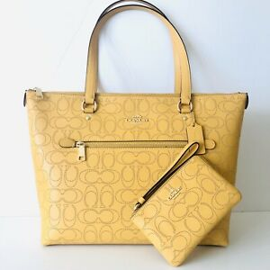 Coach Gallery Tote Yellow Signature Perforated Leather Purse Wallet Set NWT $466