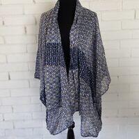 Anthropologie Womens Kimono Elevenses Blue Striped O/S X12