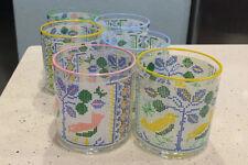 6 Retro Multi Colored Drinking Glassware