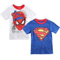 Spiderman Kids Boys Short Sleeve Cotton Tee T-Shirt Summer Cartoon Tops 2-7Y