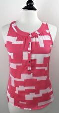 NWT Kenneth Cole Reaction Coral Geo Sleeveless Top SMALL Pink White Gold Button
