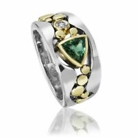Elegant Two Tone 925 Silver Rings for Women Emerald White Topaz Ring Size 6-10