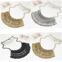 Vintage Ethnic Gypsy Bohemian Tribal Boho Coin Statement Necklace Pendant Party