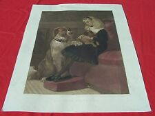 HEYWOOD HARDY' painting,  HER ONLY PLAYMATES Vintage print-Engraver W. WELLSTOOD