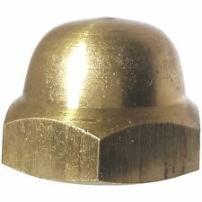 1/4-20 Hex Cap Nuts Solid Brass Grade 360 Commercial Plain Finish Quantity 100