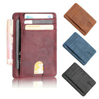 New Portable Men's Leather Wallet Thin Credit Card Holder ID Case Purse Bag UK