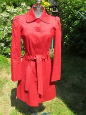 Short red Mac cotton rain coat Oasis 1960s '60s Mod red button belted, size 8