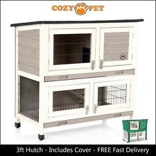 Rabbit Hutch 3ft with Cover by Cozy Pet Grey Guinea Pig Run Ferret Runs RH06GR