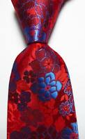 New Classic Floral Blue Red JACQUARD WOVEN 100% Silk Men's Tie Necktie