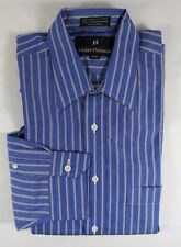 Hickey Freeman Cotton Blue Red Stripe Broadcloth Long Sleeve Shirt 15 - 33 USA