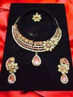 Indian Necklace Earrings Tikka Set Bollywood Bridal Party Baby Pink & Gold #44