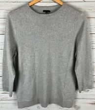 Talbots Women's Silver Shimmer Cashmere Blend 3/4 Sleeve Pullover Sweater Large