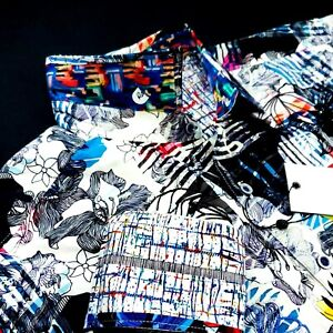 Robert Graham Embroidered Patchwork Floral Print Colorful Geometric Sport Shirt