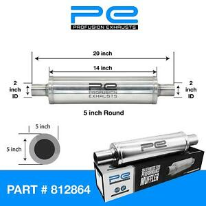 """2"""" 51mm 5"""" Round x 14"""" Profusion 304 Stainless Steel Exhaust Silencer Resonator"""