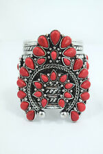 Southwestern Bohemian Faux Red Turquoise Squash Blossom Chunky Cuff Bracelet