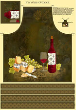"Cheese Wine Food Cotton Fabric 29""X44"" Wilmington 42395 Cut & Sew Apron Panel"
