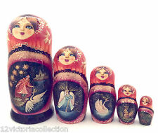 Russian Fairy Tale Tzar Saltan Nesting DOLL Hand Carved Hand Painted Babushka