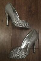 UK 4 SILVER DIAMANTÉ SHOES/SANDALS SUMMER/HOLIDAY/TOWIE/CLUBBING/IBIZA/CELEB/GYM