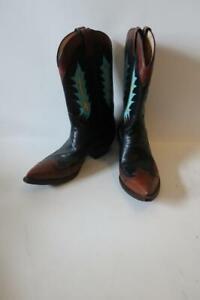 MENS ROCKETBUSTER BOOTS BROWN BLACK AQUA LEATHER WESTERN COWBOY BOOTS 10.5 *