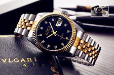 Business Men Lady Luxury Gold Stainless Steel Zircon Date Quartz Wrist Watch Box
