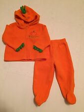 Prepare to Scare Boys & Girls 2 Pc Fleece  Sz 9 Mos Pumpkin Halloween Orange