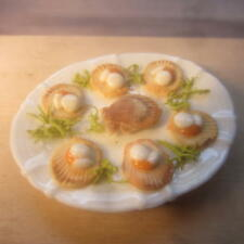 1/12 scale Dolls House Fish   Scallops on a plate   British made    DHD1817