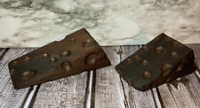 Set Of Two Hand Made Wood Cheese Wedge  Door Stop Stopper Solid Walnut Rough