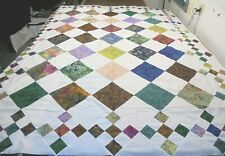 "Quilt Blocks Top only Cotton Fabric Squares all Batik 108"" x 90"" made in Usa"