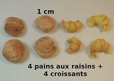 lot  8 viennoiseries miniature,maison de poupée,vitrine,épicerie,pâtisserie  CL1