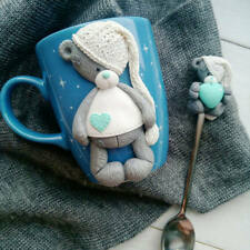 Decorated teddy bear mug & spoon set handmade Unique Funny Personalized gift