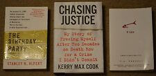 Lot of 3 non-fiction books, Chasing Justice, The Birthday Party, and FISH