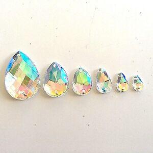 Clear AB Teardrop Crystal Sew Glue On Flatback Rhinestone Craft Beads Button Gem