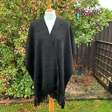 Ladies Black Cape Metallic Thread & Pearl Knitted Tassel Poncho Side Split