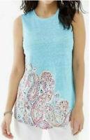 J. Jill Love 100% Linen Tank Top Paisley Graphic Tank Top Sz S Small Blue Summer